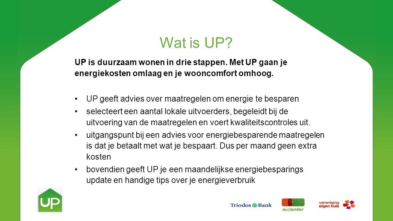 UP is duurzaam wonen in drie stappen. Met UP gaan je energiekosten omlaag en je wooncomfort omhoog.