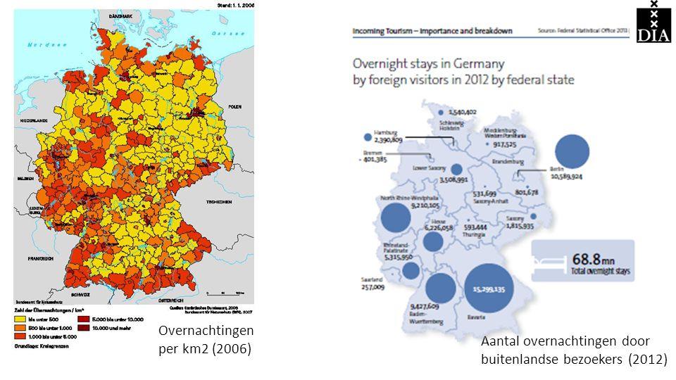 Overnachtingen per km2 (2006) Aantal overnachtingen door buitenlandse bezoekers (2012)