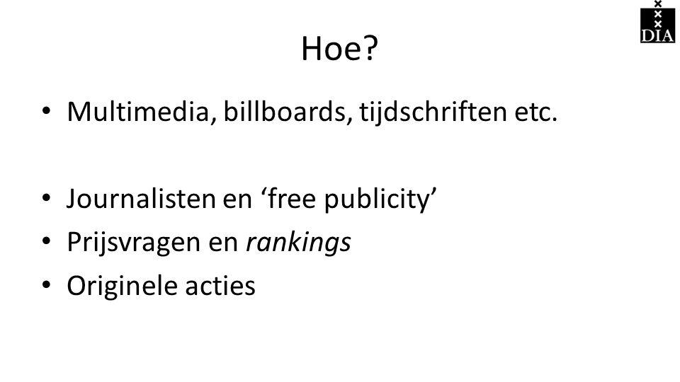 Hoe.• Multimedia, billboards, tijdschriften etc.