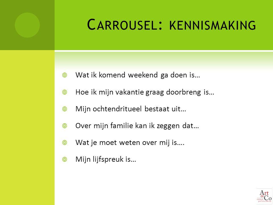 C ARROUSEL : KENNISMAKING  Wat ik komend weekend ga doen is…  Hoe ik mijn vakantie graag doorbreng is…  Mijn ochtendritueel bestaat uit…  Over mij