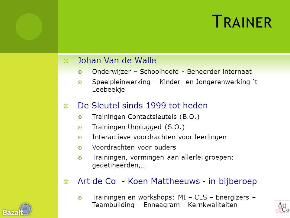 T RAINER  Johan Van de Walle  Onderwijzer – Schoolhoofd - Beheerder internaat  Speelpleinwerking – Kinder- en Jongerenwerking 't Leebeekje  De Sle