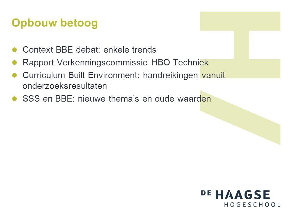 Opbouw betoog  Context BBE debat: enkele trends  Rapport Verkenningscommissie HBO Techniek  Curriculum Built Environment: handreikingen vanuit onde
