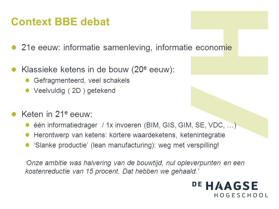 Context BBE debat  21e eeuw: informatie samenleving, informatie economie  Klassieke ketens in de bouw (20 e eeuw):  Gefragmenteerd, veel schakels 
