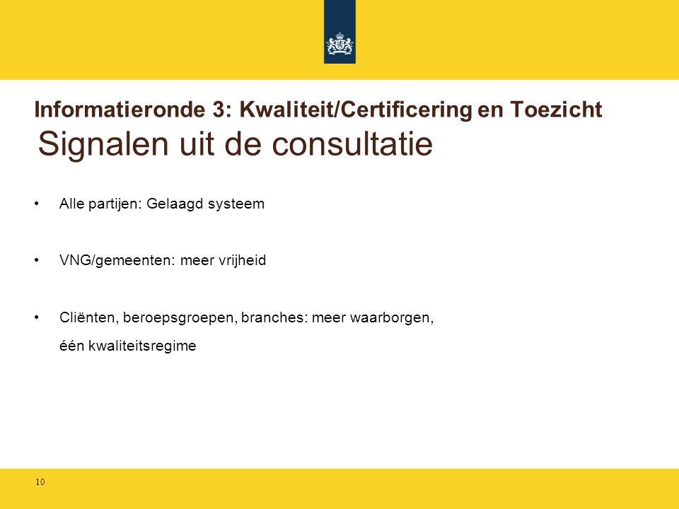 Informatieronde 3: Kwaliteit/Certificering en Toezicht Signalen uit de consultatie • Alle partijen: Gelaagd systeem • VNG/gemeenten: meer vrijheid • C