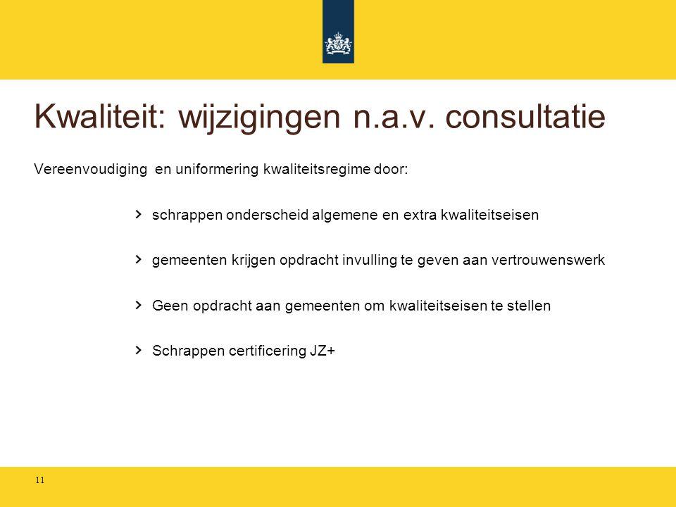 Kwaliteit: wijzigingen n.a.v. consultatie Vereenvoudiging en uniformering kwaliteitsregime door: schrappen onderscheid algemene en extra kwaliteitseis