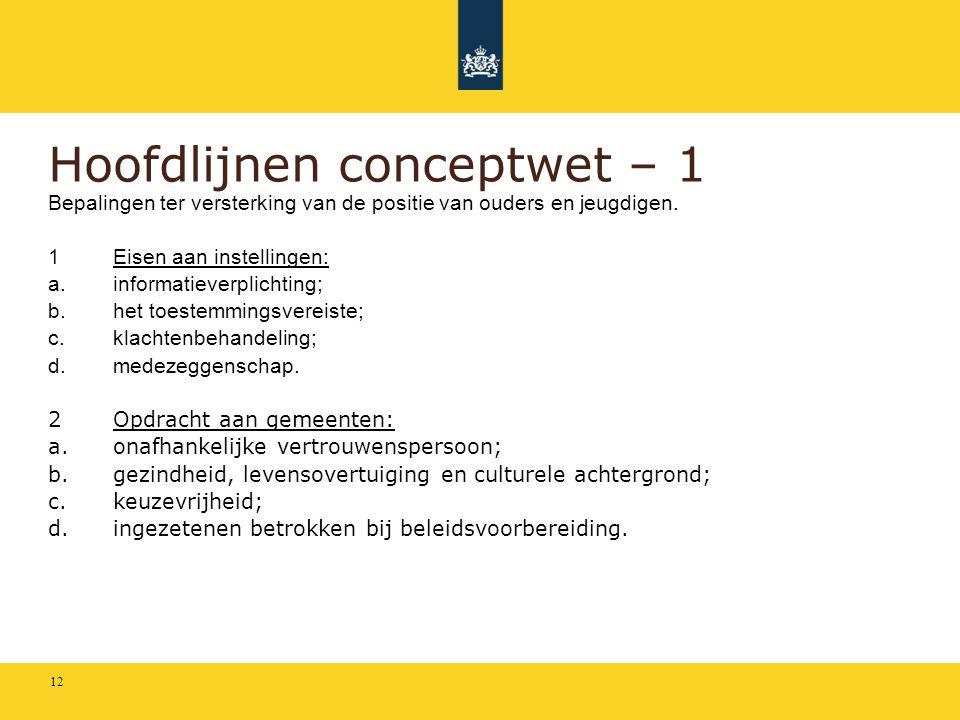 Hoofdlijnen conceptwet – 1 Bepalingen ter versterking van de positie van ouders en jeugdigen. 1Eisen aan instellingen: a.informatieverplichting; b.het