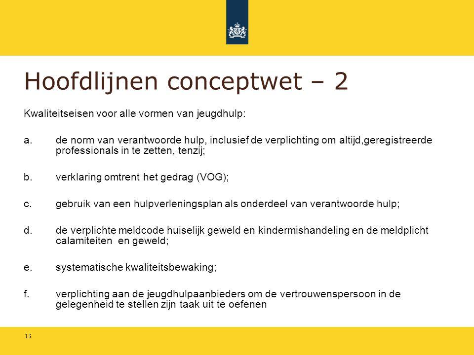 Hoofdlijnen conceptwet – 2 Kwaliteitseisen voor alle vormen van jeugdhulp: a.de norm van verantwoorde hulp, inclusief de verplichting om altijd,geregi