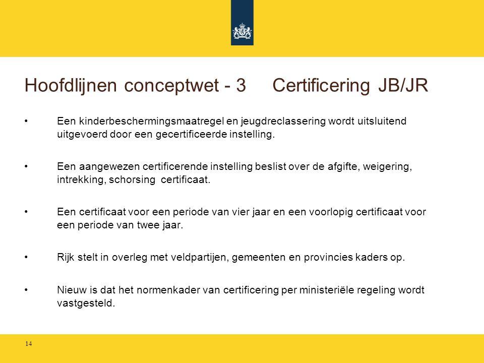 Hoofdlijnen conceptwet - 3 Certificering JB/JR •Een kinderbeschermingsmaatregel en jeugdreclassering wordt uitsluitend uitgevoerd door een gecertifice
