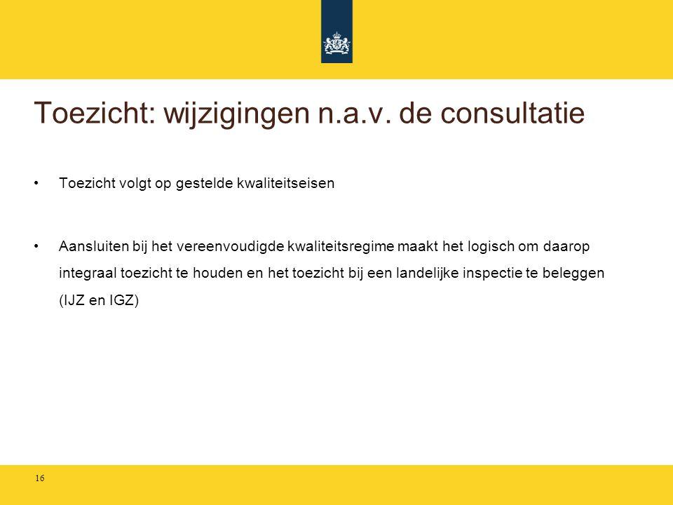 Toezicht: wijzigingen n.a.v. de consultatie • Toezicht volgt op gestelde kwaliteitseisen • Aansluiten bij het vereenvoudigde kwaliteitsregime maakt he