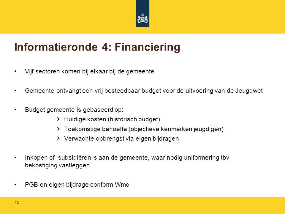 Informatieronde 4: Financiering • Vijf sectoren komen bij elkaar bij de gemeente • Gemeente ontvangt een vrij besteedbaar budget voor de uitvoering va