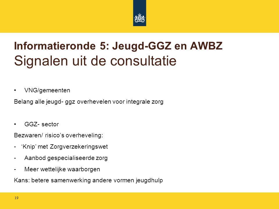 Informatieronde 5: Jeugd-GGZ en AWBZ Signalen uit de consultatie •VNG/gemeenten Belang alle jeugd- ggz overhevelen voor integrale zorg •GGZ- sector Be