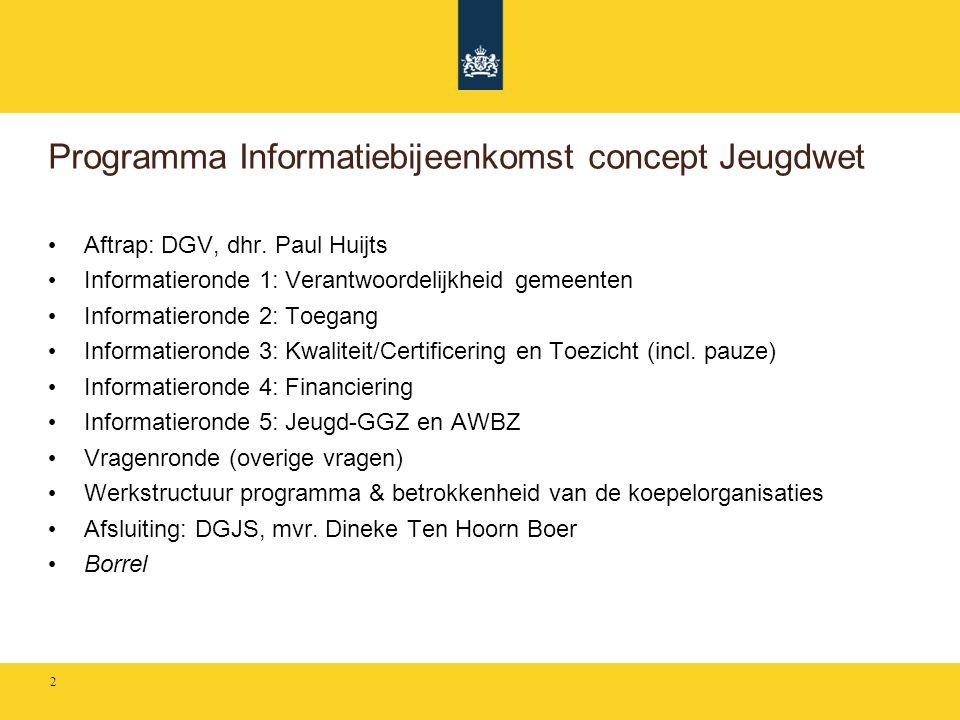 Programma Informatiebijeenkomst concept Jeugdwet • Aftrap: DGV, dhr. Paul Huijts • Informatieronde 1: Verantwoordelijkheid gemeenten • Informatieronde