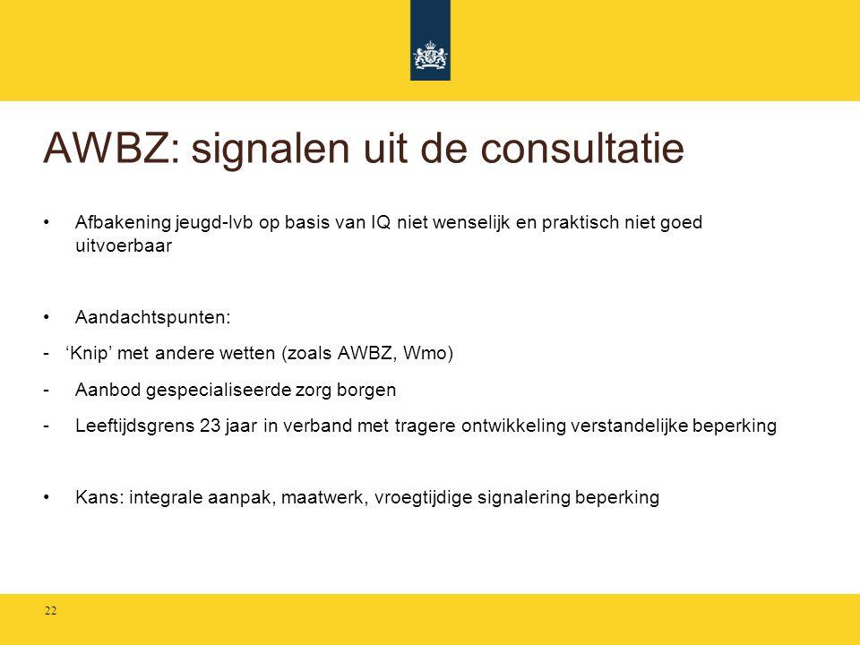 AWBZ: signalen uit de consultatie •Afbakening jeugd-lvb op basis van IQ niet wenselijk en praktisch niet goed uitvoerbaar •Aandachtspunten: - 'Knip' m