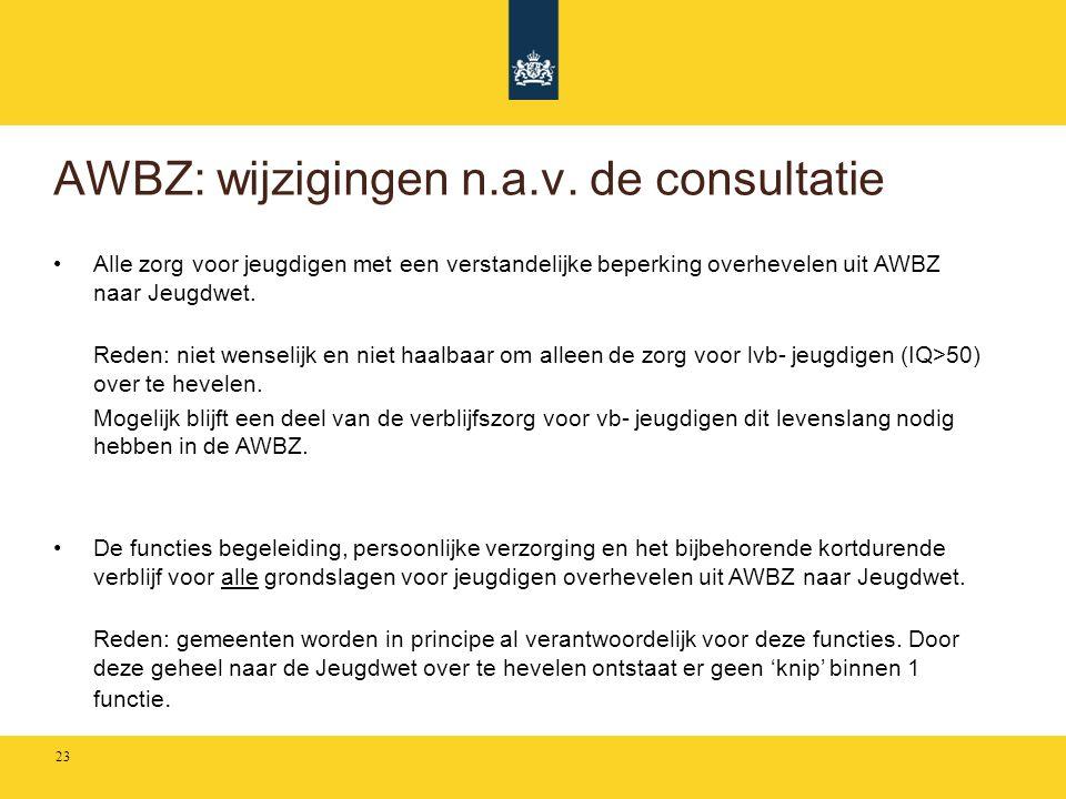 AWBZ: wijzigingen n.a.v. de consultatie • Alle zorg voor jeugdigen met een verstandelijke beperking overhevelen uit AWBZ naar Jeugdwet. Reden: niet we