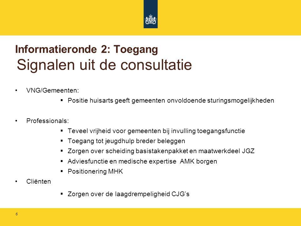 Informatieronde 2: Toegang Signalen uit de consultatie •VNG/Gemeenten:  Positie huisarts geeft gemeenten onvoldoende sturingsmogelijkheden •Professio