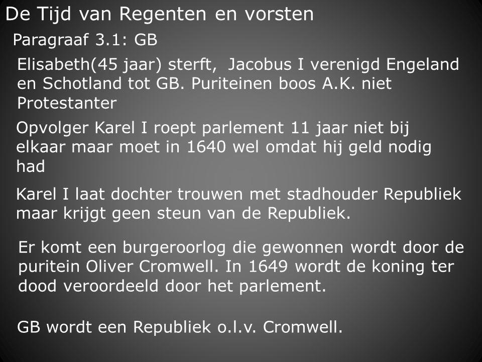 De Tijd van Regenten en vorsten Opvolger Karel I roept parlement 11 jaar niet bij elkaar maar moet in 1640 wel omdat hij geld nodig had Karel I laat d