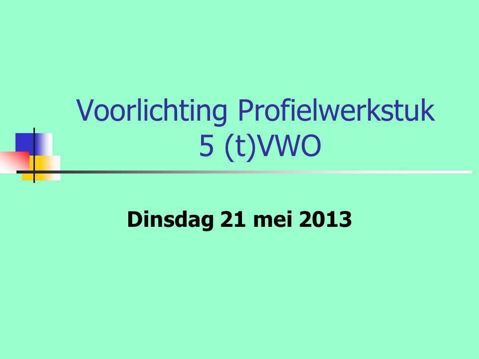 Voorlichting Profielwerkstuk 5 (t)VWO Dinsdag 21 mei 2013