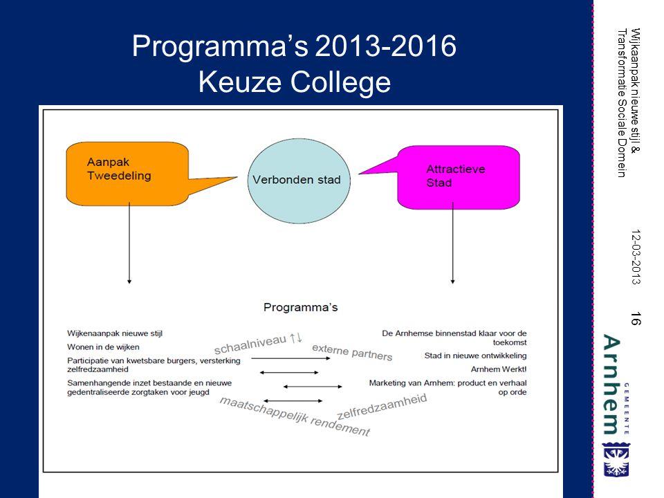Wijkaanpak nieuwe stijl & Transformatie Sociale Domein 16 Wijkaanpak nieuwe stijl & Transformatie Sociale Domein Programma's 2013-2016 Keuze College 12-03-2013