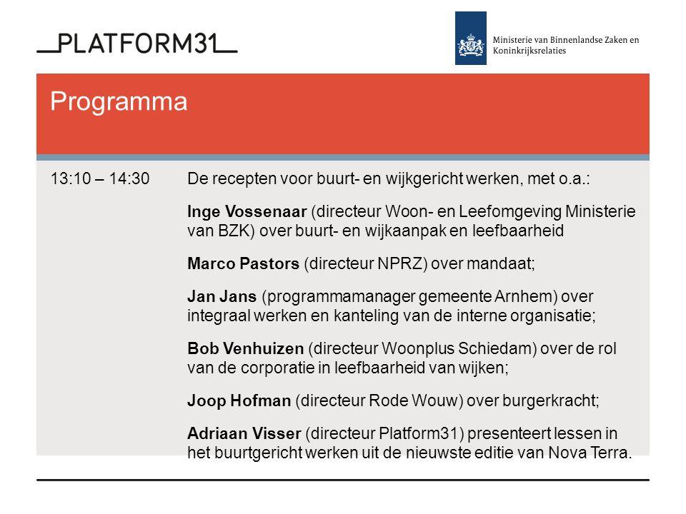 Programma 13:10 – 14:30De recepten voor buurt- en wijkgericht werken, met o.a.: Inge Vossenaar (directeur Woon- en Leefomgeving Ministerie van BZK) ov