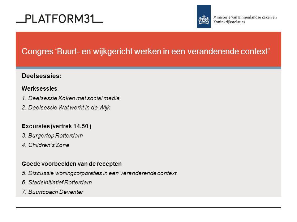 Congres 'Buurt- en wijkgericht werken in een veranderende context' Deelsessies: Werksessies 1.