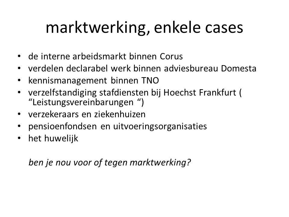 marktwerking, enkele cases • de interne arbeidsmarkt binnen Corus • verdelen declarabel werk binnen adviesbureau Domesta • kennismanagement binnen TNO