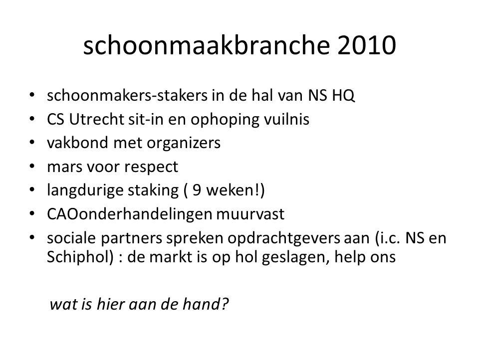 schoonmaakbranche 2010 • schoonmakers-stakers in de hal van NS HQ • CS Utrecht sit-in en ophoping vuilnis • vakbond met organizers • mars voor respect