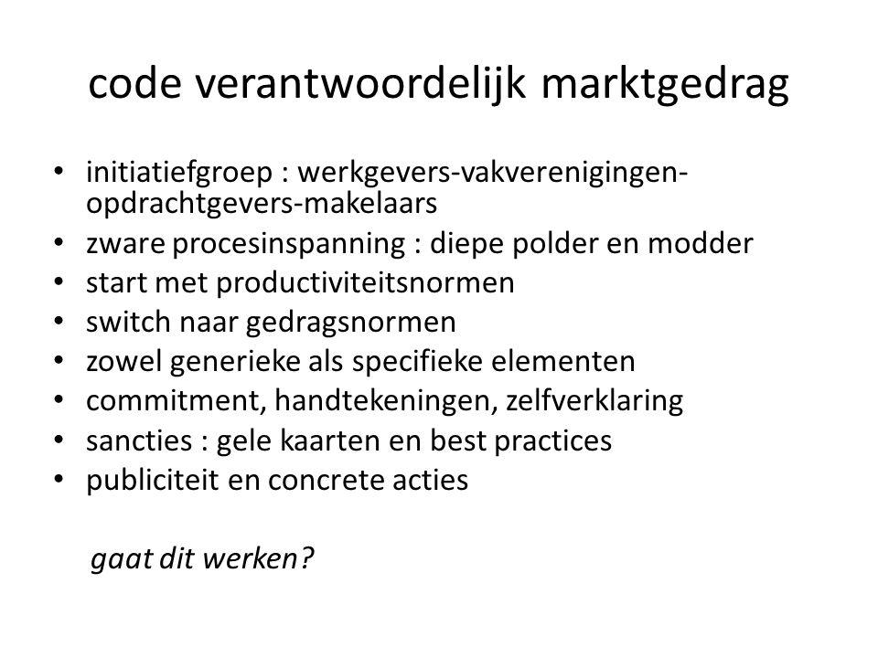 code verantwoordelijk marktgedrag • initiatiefgroep : werkgevers-vakverenigingen- opdrachtgevers-makelaars • zware procesinspanning : diepe polder en