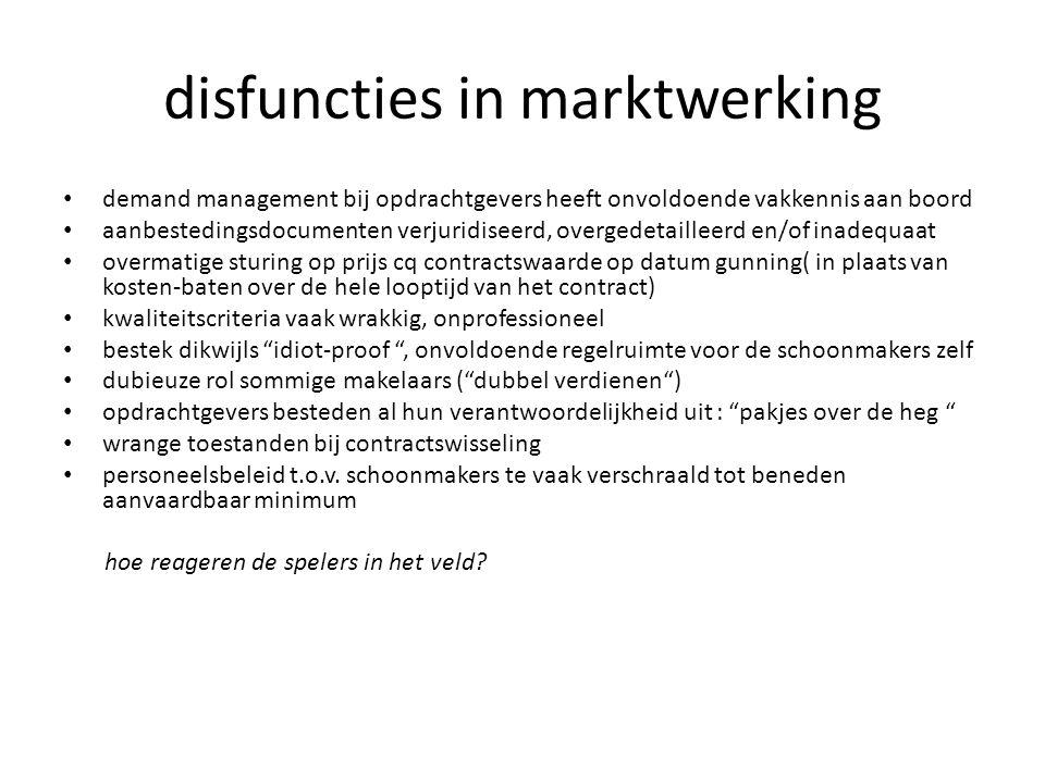 disfuncties in marktwerking • demand management bij opdrachtgevers heeft onvoldoende vakkennis aan boord • aanbestedingsdocumenten verjuridiseerd, ove