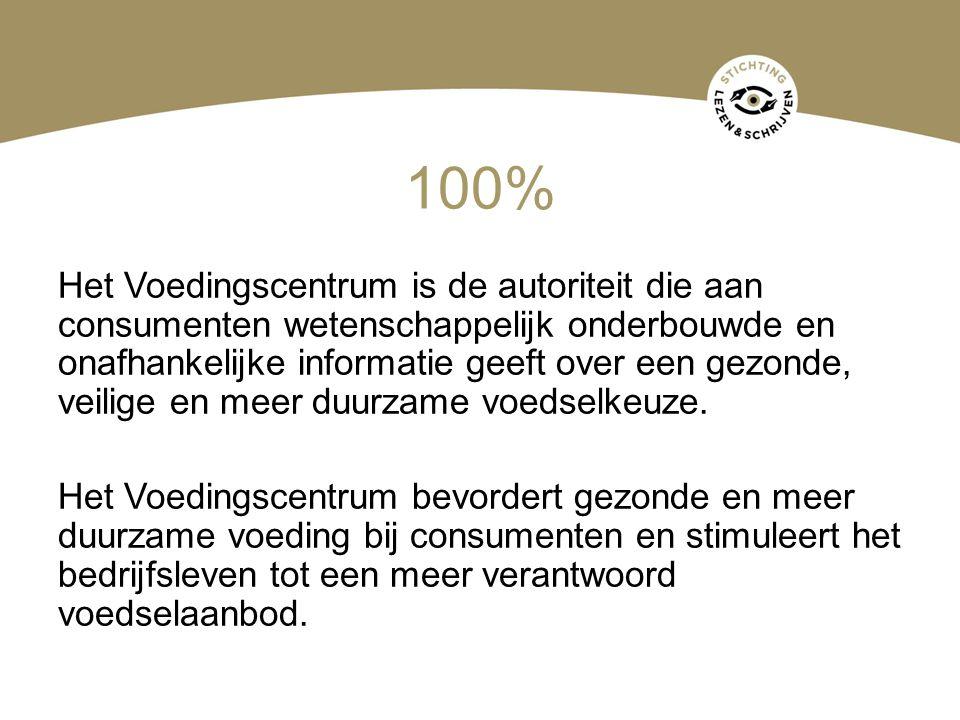 100% Het Voedingscentrum is de autoriteit die aan consumenten wetenschappelijk onderbouwde en onafhankelijke informatie geeft over een gezonde, veilig