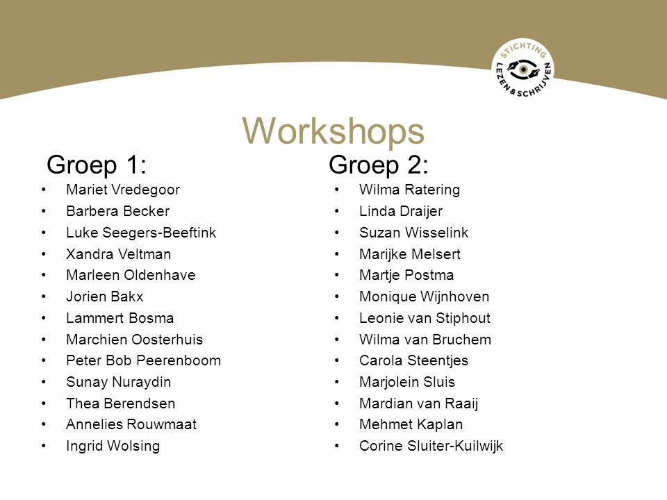 Workshops •Mariet Vredegoor •Barbera Becker •Luke Seegers-Beeftink •Xandra Veltman •Marleen Oldenhave •Jorien Bakx •Lammert Bosma •Marchien Oosterhuis