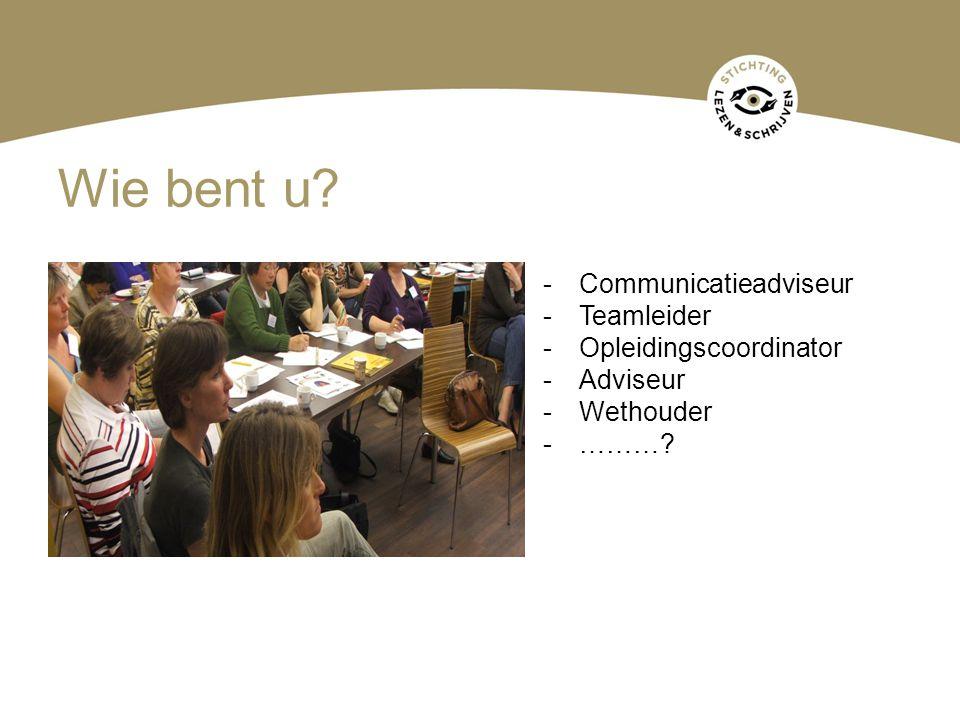 Wie bent u? -Communicatieadviseur -Teamleider -Opleidingscoordinator -Adviseur -Wethouder -………?