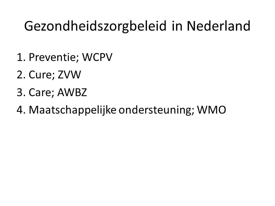 Gezondheidszorgbeleid in Nederland 1. Preventie; WCPV 2. Cure; ZVW 3. Care; AWBZ 4. Maatschappelijke ondersteuning; WMO