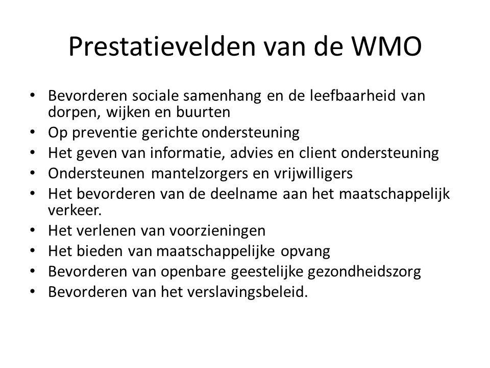 8 bakens voor de uitvoering van de WMO volgens de VNG,CGraad; • Vraaggericht • Uitgaan van eigen kracht • Direct erop af • Collectief boven individueel • Integraal werken • Benutten van informele ondersteuning • Resultaat gericht • Ruimte voor professionals