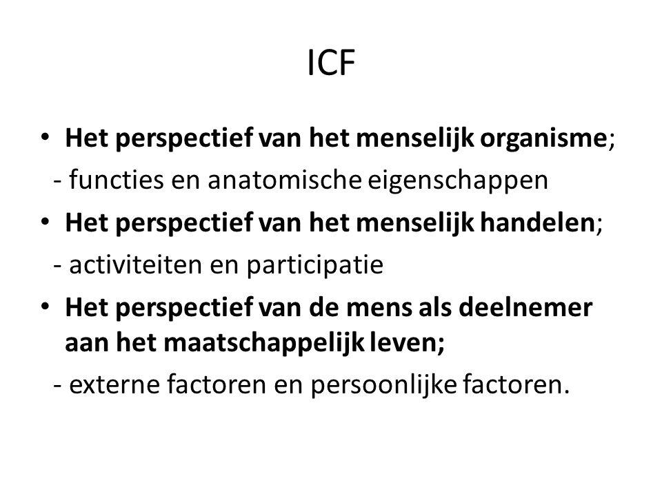 ICF • Het perspectief van het menselijk organisme; - functies en anatomische eigenschappen • Het perspectief van het menselijk handelen; - activiteiten en participatie • Het perspectief van de mens als deelnemer aan het maatschappelijk leven; - externe factoren en persoonlijke factoren.