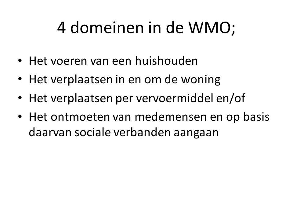 4 domeinen in de WMO; • Het voeren van een huishouden • Het verplaatsen in en om de woning • Het verplaatsen per vervoermiddel en/of • Het ontmoeten van medemensen en op basis daarvan sociale verbanden aangaan