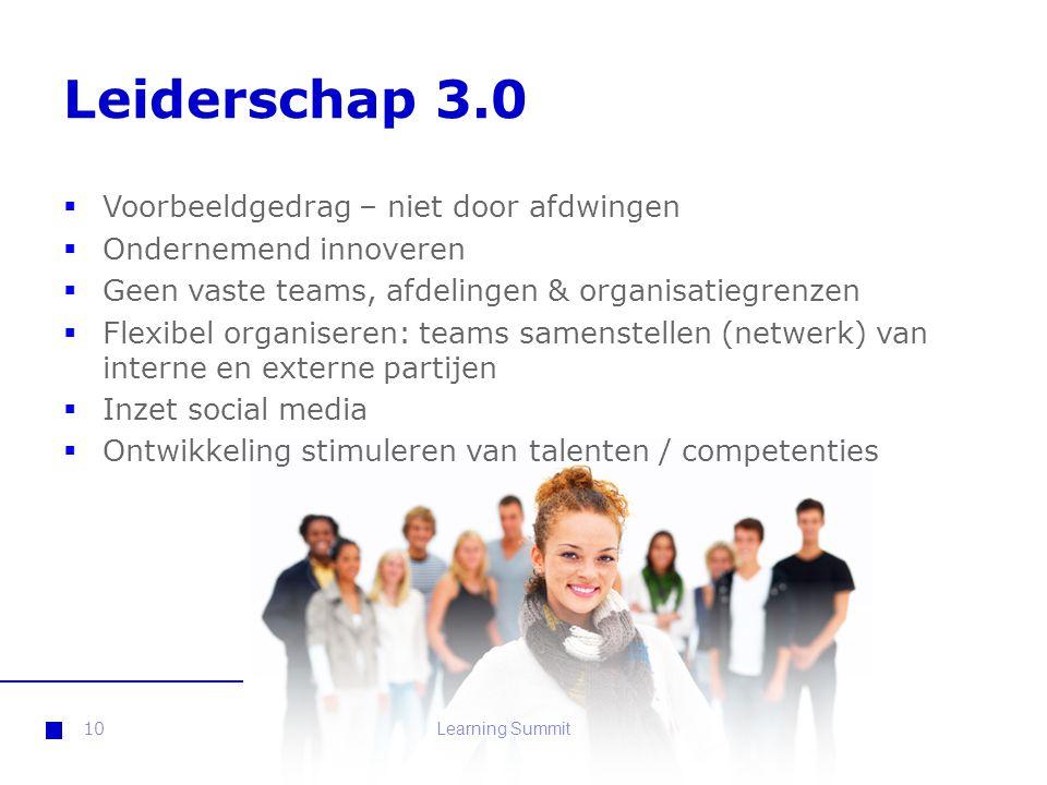 Leiderschap 3.0  Voorbeeldgedrag – niet door afdwingen  Ondernemend innoveren  Geen vaste teams, afdelingen & organisatiegrenzen  Flexibel organis