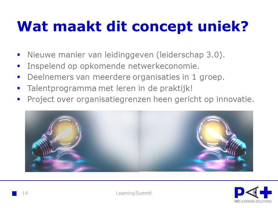 Wat maakt dit concept uniek?  Nieuwe manier van leidinggeven (leiderschap 3.0).  Inspelend op opkomende netwerkeconomie.  Deelnemers van meerdere o