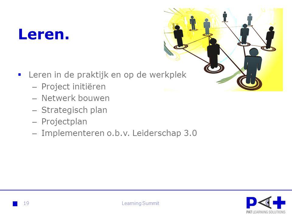 Leren.  Leren in de praktijk en op de werkplek – Project initiëren – Netwerk bouwen – Strategisch plan – Projectplan – Implementeren o.b.v. Leidersch