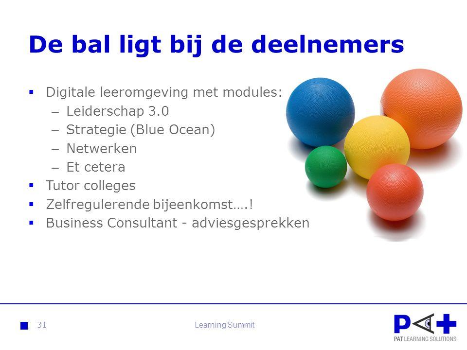 De bal ligt bij de deelnemers  Digitale leeromgeving met modules: – Leiderschap 3.0 – Strategie (Blue Ocean) – Netwerken – Et cetera  Tutor colleges