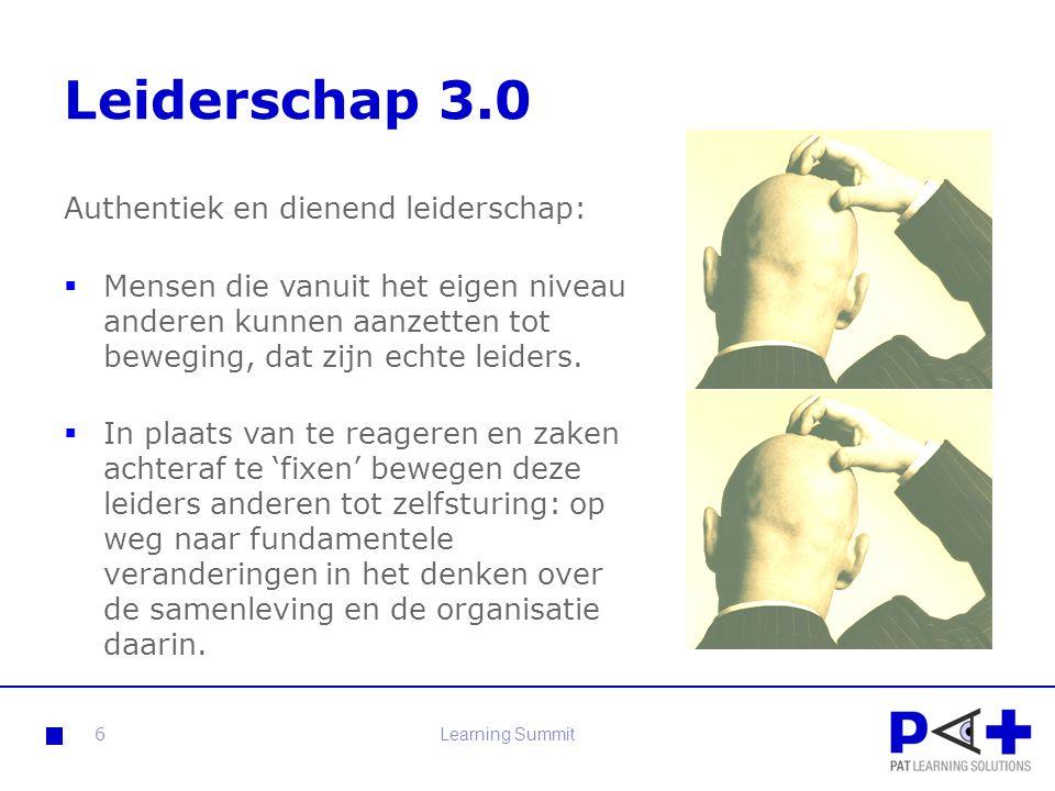 Leiderschap 3.0 Feiten:  Organisatie structuren veranderen  Grenzen organisaties vervagen  Opkomende Netwerk- economie  Verdergaande ICT technologie  Halfwaardetijd van kennis en kunde daalt.