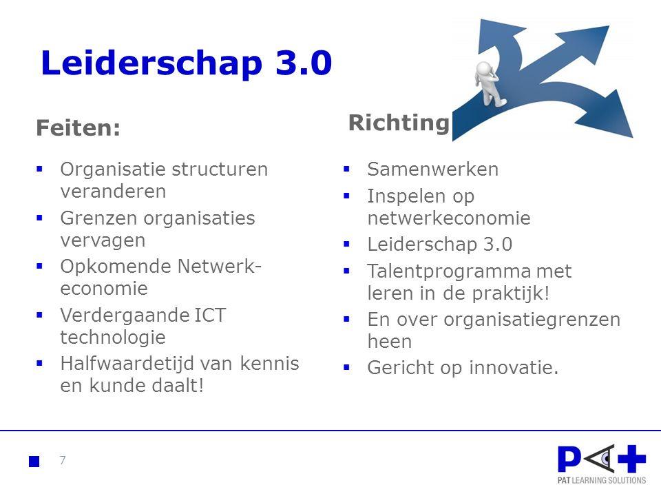 Leiderschap 3.0 Feiten:  Organisatie structuren veranderen  Grenzen organisaties vervagen  Opkomende Netwerk- economie  Verdergaande ICT technolog