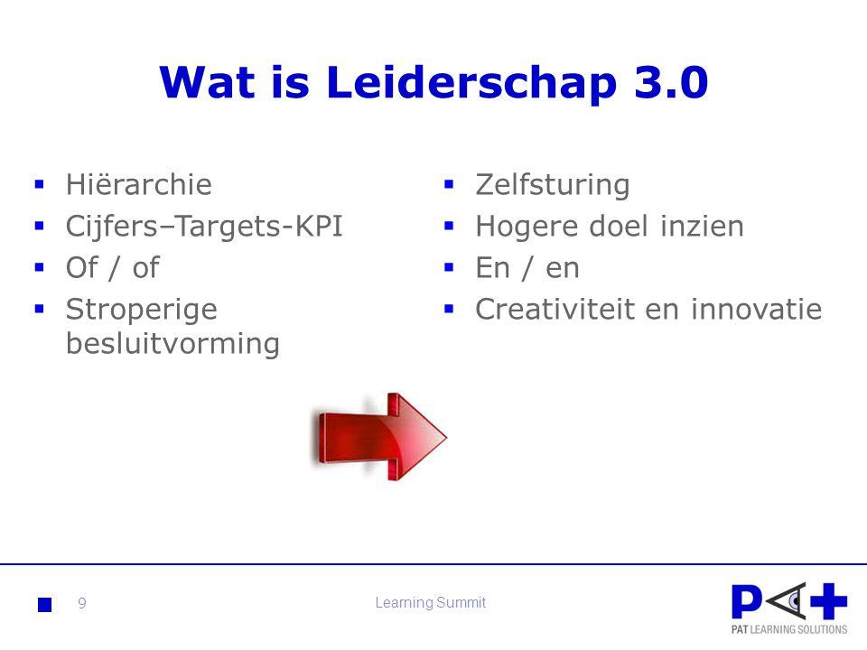 Wat is Leiderschap 3.0  Zelfsturing  Hogere doel inzien  En / en  Creativiteit en innovatie 9 Learning Summit  Hiërarchie  Cijfers–Targets-KPI 