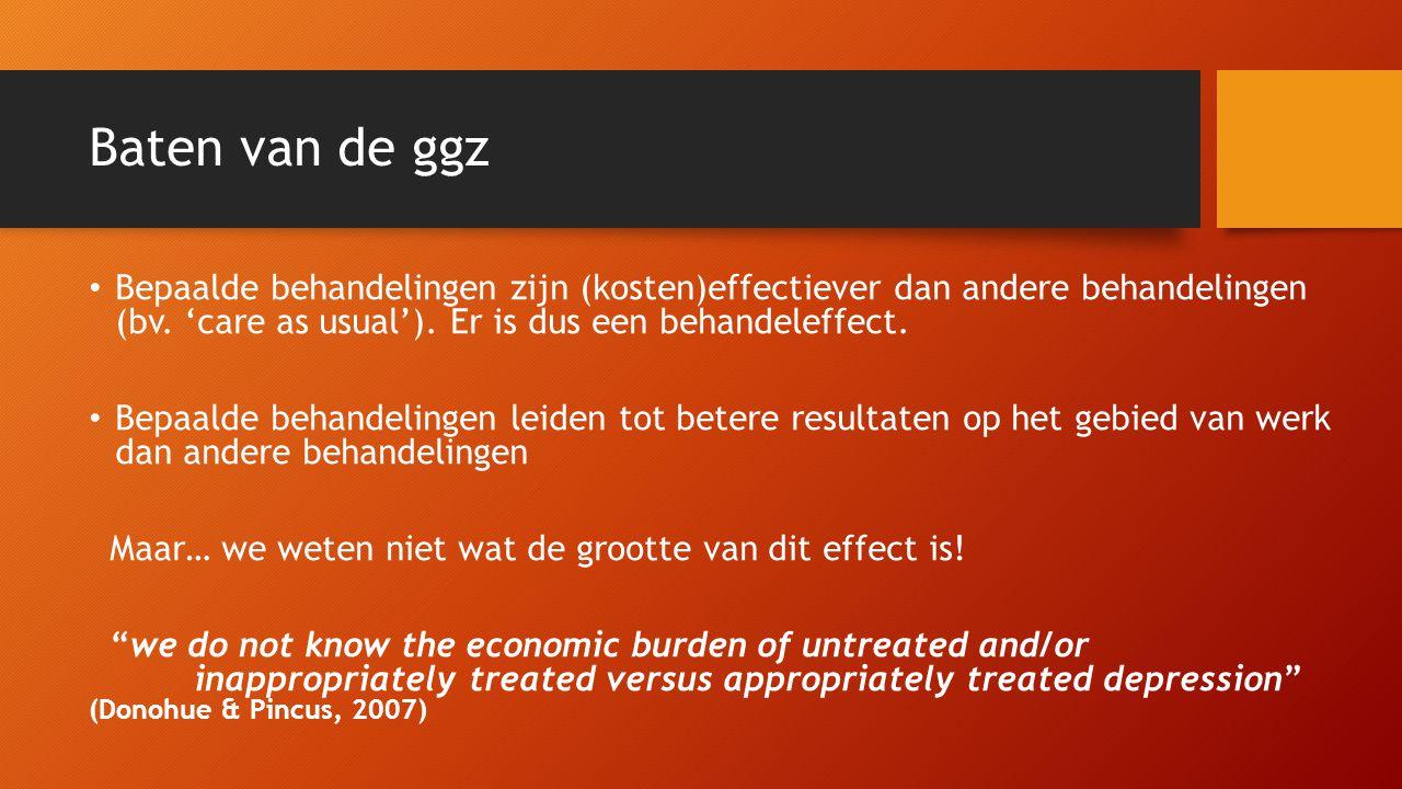 Baten van de ggz • Bepaalde behandelingen zijn (kosten)effectiever dan andere behandelingen (bv. 'care as usual'). Er is dus een behandeleffect. • Bep