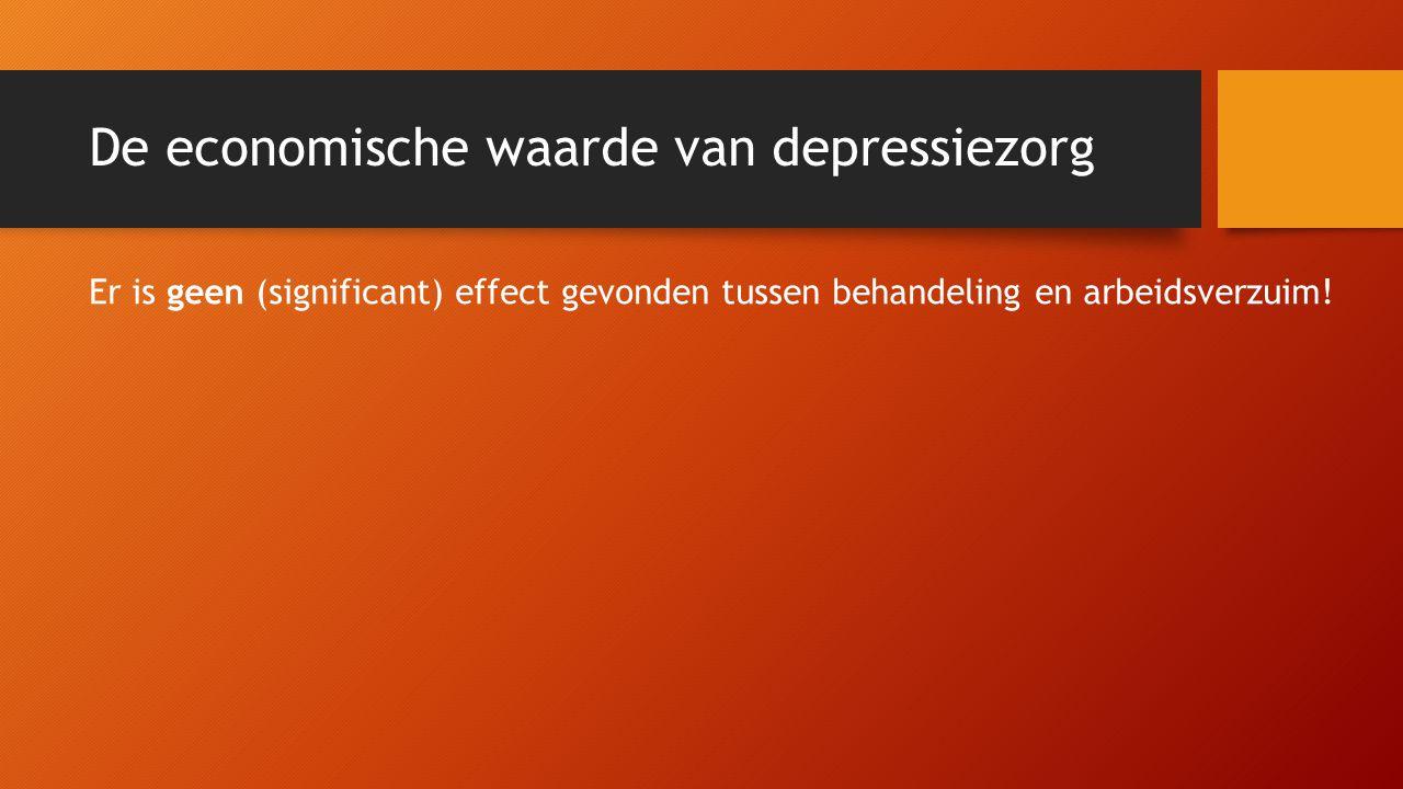 De economische waarde van depressiezorg Er is geen (significant) effect gevonden tussen behandeling en arbeidsverzuim!