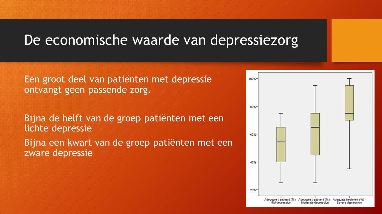 De economische waarde van depressiezorg Een groot deel van patiënten met depressie ontvangt geen passende zorg. Bijna de helft van de groep patiënten