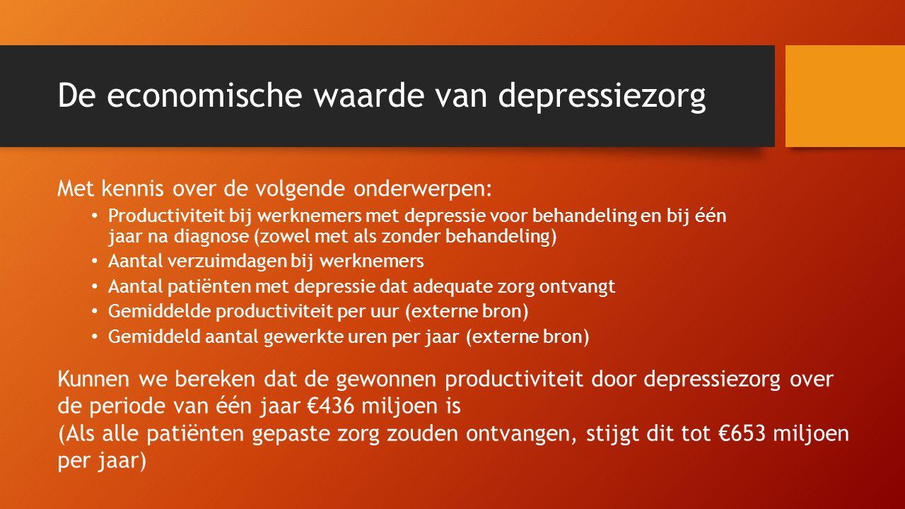 De economische waarde van depressiezorg Met kennis over de volgende onderwerpen: • Productiviteit bij werknemers met depressie voor behandeling en bij