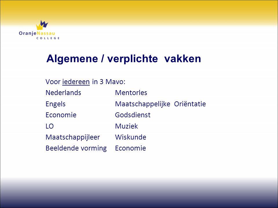 Algemene / verplichte vakken Voor iedereen in 3 Mavo: NederlandsMentorles Engels Maatschappelijke Oriëntatie EconomieGodsdienst LOMuziek Maatschappijl