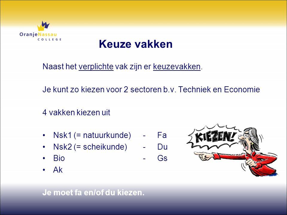 Keuze vakken Naast het verplichte vak zijn er keuzevakken. Je kunt zo kiezen voor 2 sectoren b.v. Techniek en Economie 4 vakken kiezen uit •Nsk1 (= na