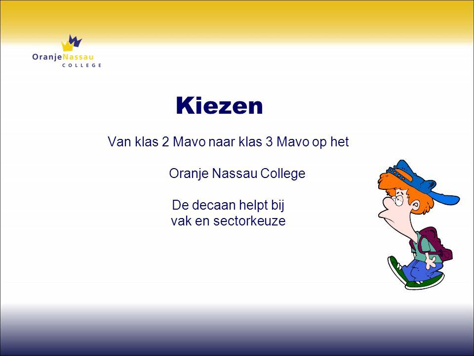 Van klas 2 Mavo naar klas 3 Mavo op het Oranje Nassau College De decaan helpt bij vak en sectorkeuze Kiezen