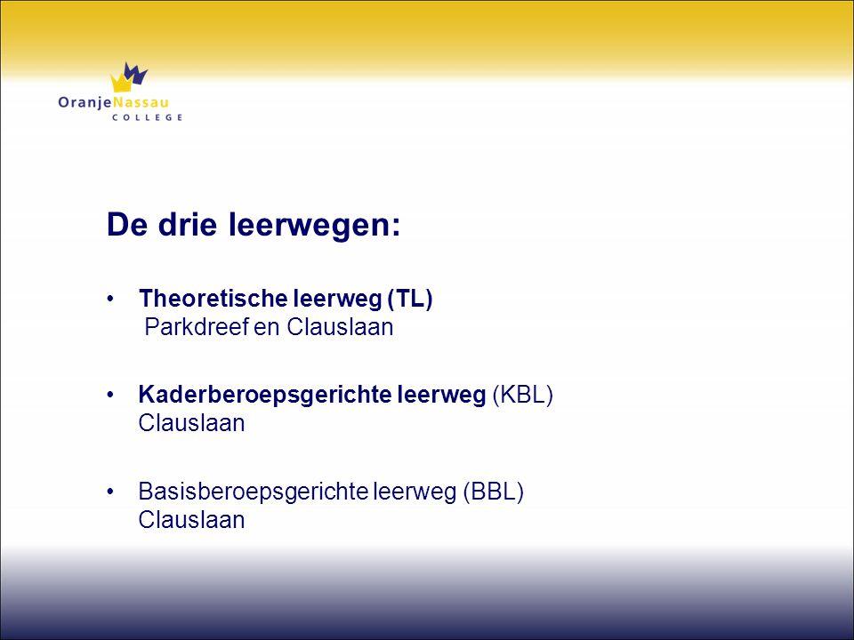 De drie leerwegen: •Theoretische leerweg (TL) Parkdreef en Clauslaan •Kaderberoepsgerichte leerweg (KBL) Clauslaan •Basisberoepsgerichte leerweg (BBL)